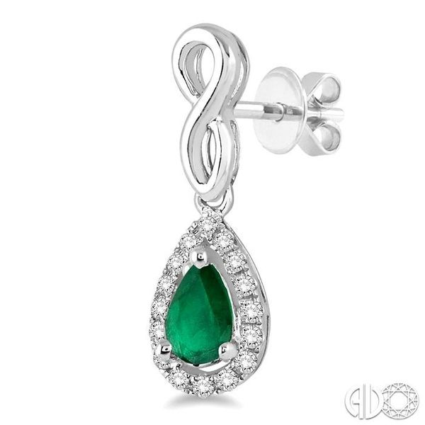 5x3 MM Pear Shape Emerald and 1/6 Ctw Round Cut Diamond Earrings in 14K White Gold Image 3 Coughlin Jewelers St. Clair, MI