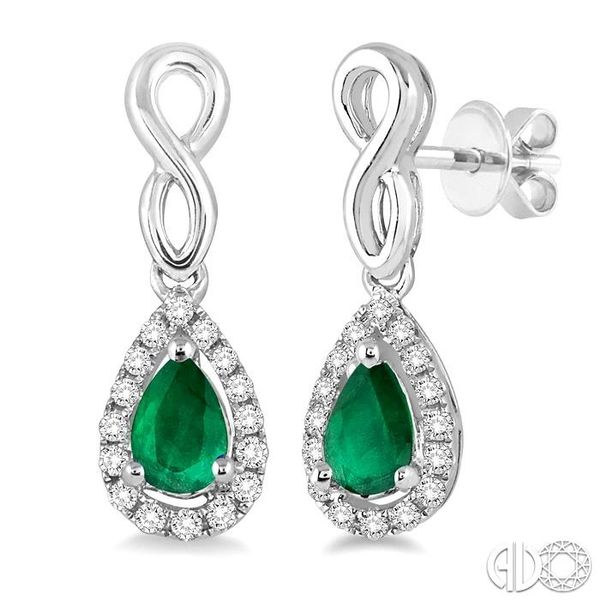 5x3 MM Pear Shape Emerald and 1/6 Ctw Round Cut Diamond Earrings in 14K White Gold Coughlin Jewelers St. Clair, MI