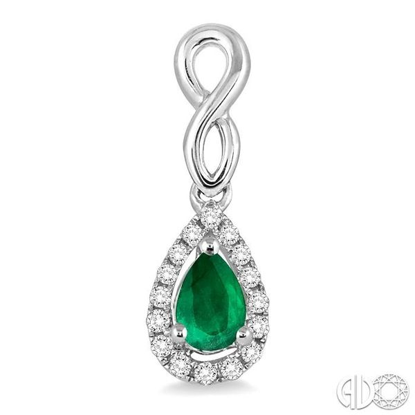 5x3 MM Pear Shape Emerald and 1/6 Ctw Round Cut Diamond Earrings in 14K White Gold Image 2 Coughlin Jewelers St. Clair, MI