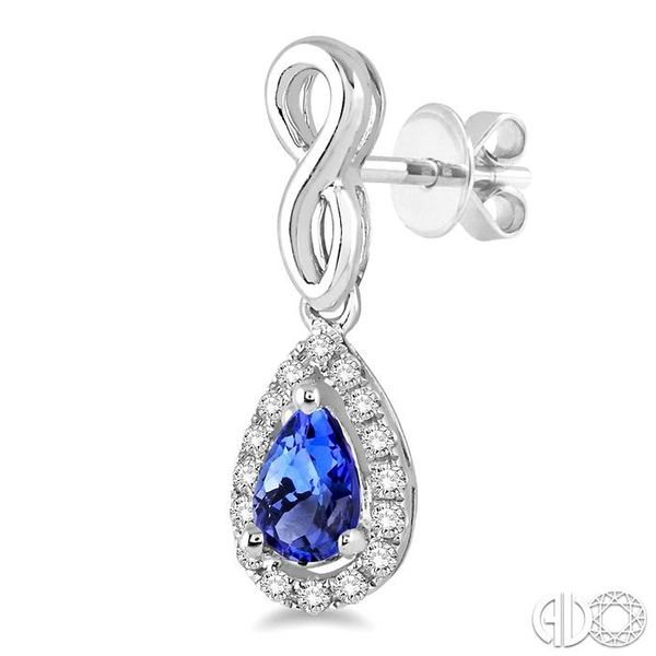 5x3 MM Pear Shape Tanzanite and 1/6 Ctw Round Cut Diamond Earrings in 14K White Gold Image 3 Coughlin Jewelers St. Clair, MI