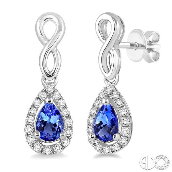 5x3 MM Pear Shape Tanzanite and 1/6 Ctw Round Cut Diamond Earrings in 14K White Gold Coughlin Jewelers St. Clair, MI
