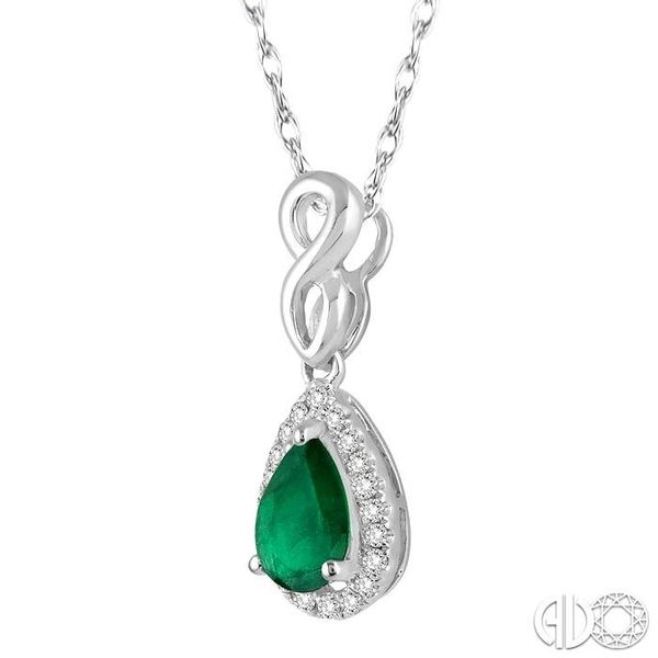 6x4 MM Pear Shape Emerald and 1/10 Ctw Round Cut Diamond Pendant in 14K White Gold with Chain Image 2 Coughlin Jewelers St. Clair, MI