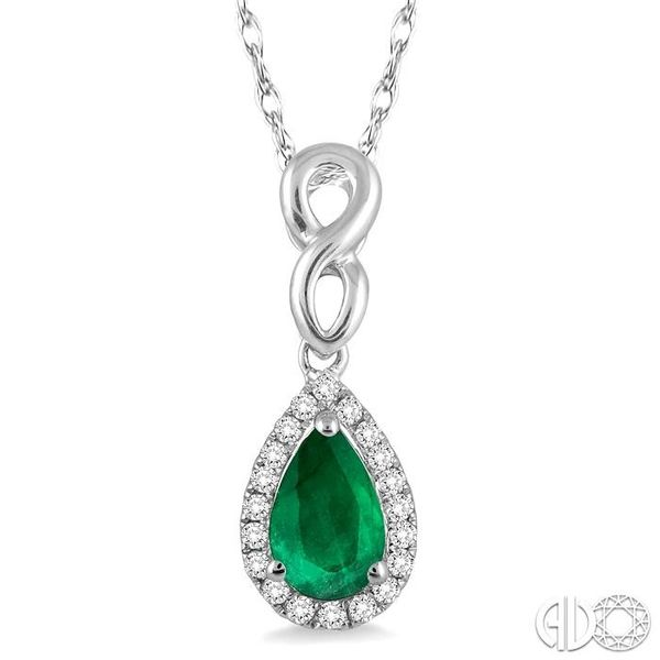 6x4 MM Pear Shape Emerald and 1/10 Ctw Round Cut Diamond Pendant in 14K White Gold with Chain Coughlin Jewelers St. Clair, MI