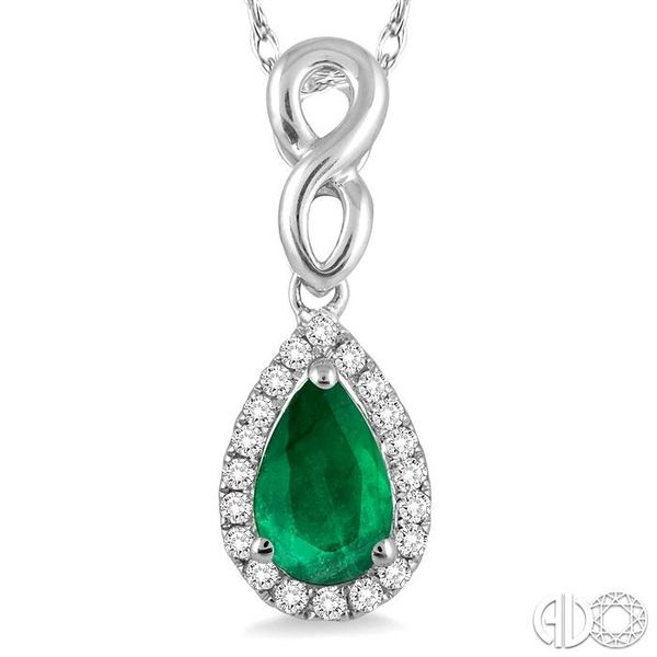 6x4 MM Pear Shape Emerald and 1/10 Ctw Round Cut Diamond Pendant in 14K White Gold with Chain Image 3 Coughlin Jewelers St. Clair, MI