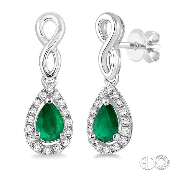 5x3 MM Pear Shape Emerald and 1/6 Ctw Round Cut Diamond Earrings in 10K White Gold Coughlin Jewelers St. Clair, MI
