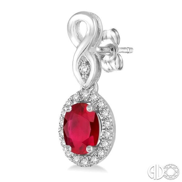 5x3 MM Oval Cut Ruby and 1/6 Ctw Round Cut Diamond Earrings in 14K White Gold Image 3 Coughlin Jewelers St. Clair, MI