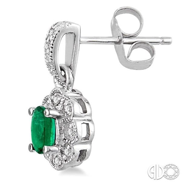 5x3mm Oval Cut Emerald and 1/10 Ctw Single Cut Diamond Earrings in 14K White Gold Image 3 Coughlin Jewelers St. Clair, MI