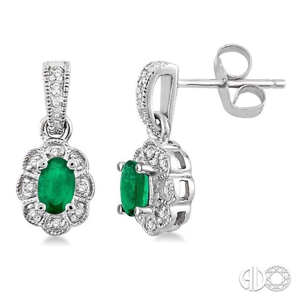 5x3mm Oval Cut Emerald and 1/10 Ctw Single Cut Diamond Earrings in 14K White Gold Coughlin Jewelers St. Clair, MI