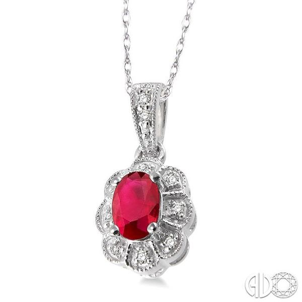 6x4mm Oval Cut Ruby and 1/20 Ctw Single Cut Diamond Pendant in 14K White Gold with Chain Image 2 Coughlin Jewelers St. Clair, MI