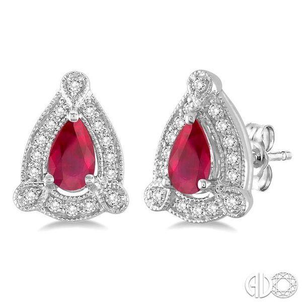 5x3 mm Pear Shape Ruby and 1/6 Ctw Round Cut Diamond Earrings in 14K White Gold Coughlin Jewelers St. Clair, MI