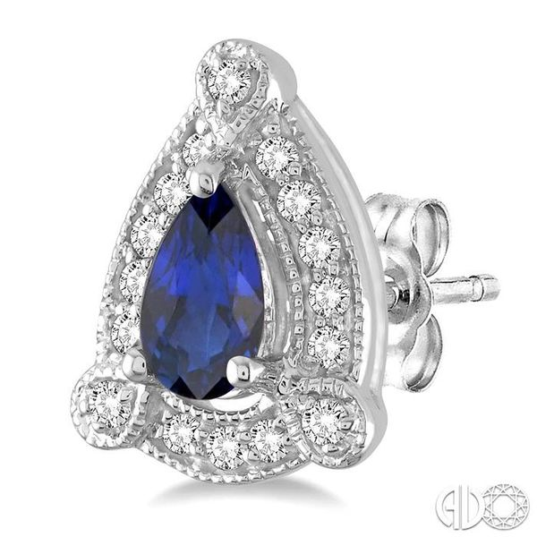 5x3 mm Pear Shape Sapphire and 1/6 Ctw Round Cut Diamond Earrings in 14K White Gold Image 3 Coughlin Jewelers St. Clair, MI