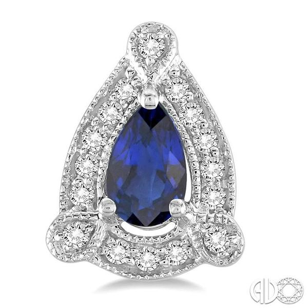 5x3 mm Pear Shape Sapphire and 1/6 Ctw Round Cut Diamond Earrings in 14K White Gold Image 2 Coughlin Jewelers St. Clair, MI