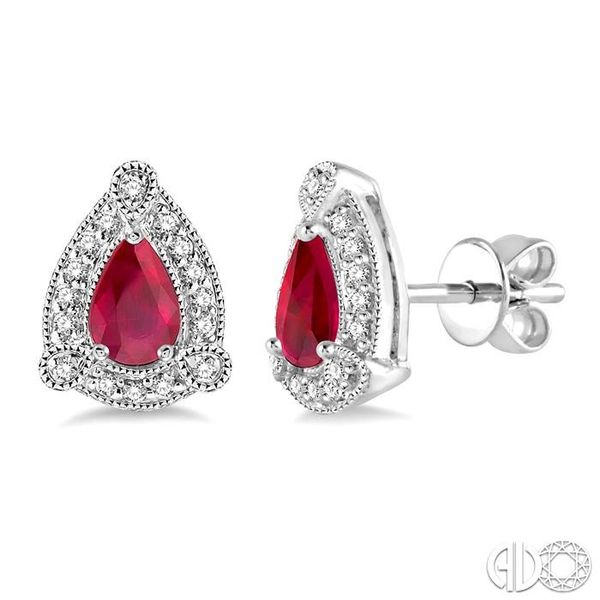 5x3 mm Pear Shape Ruby and 1/6 Ctw Round Cut Diamond Earrings in 10K White Gold Coughlin Jewelers St. Clair, MI
