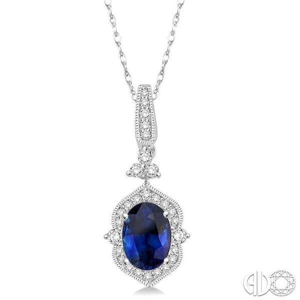 6x4 MM Oval Shape Sapphire and 1/5 Ctw Diamond Pendant in 14K White Gold with Chain Coughlin Jewelers St. Clair, MI