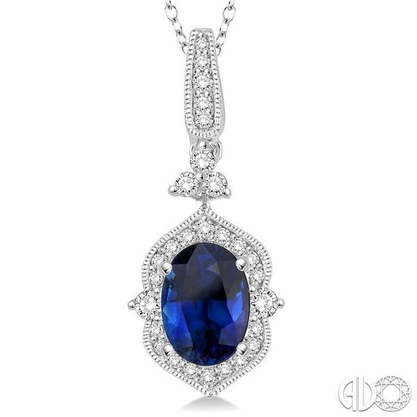 6x4 MM Oval Shape Sapphire and 1/5 Ctw Diamond Pendant in 14K White Gold with Chain Image 3 Coughlin Jewelers St. Clair, MI