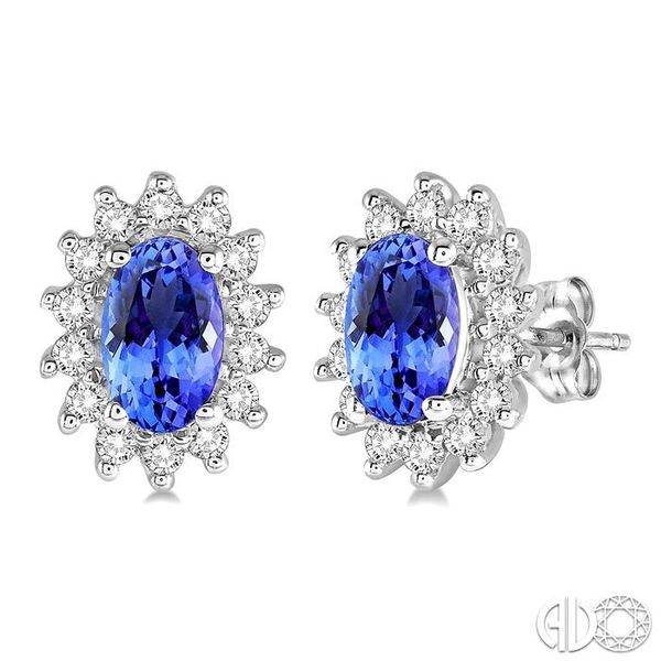 1/5 Ctw Round Cut Diamond and Oval Cut 5x3mm Tanzanite Center Sunflower Precious Earrings in 10K White Gold Coughlin Jewelers St. Clair, MI