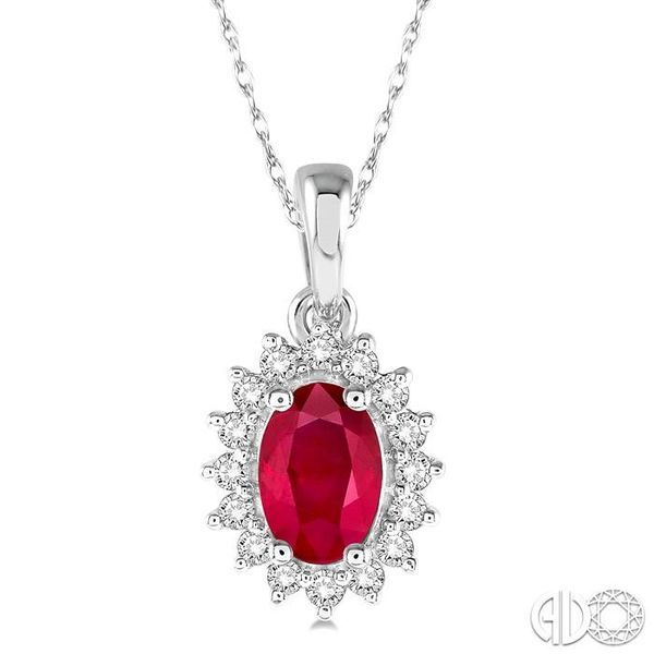 1/8 Ctw Round Cut Diamond and Oval Cut 6x4mm Ruby Center Sunflower Precious Pendant in 10K White Gold with chain Coughlin Jewelers St. Clair, MI