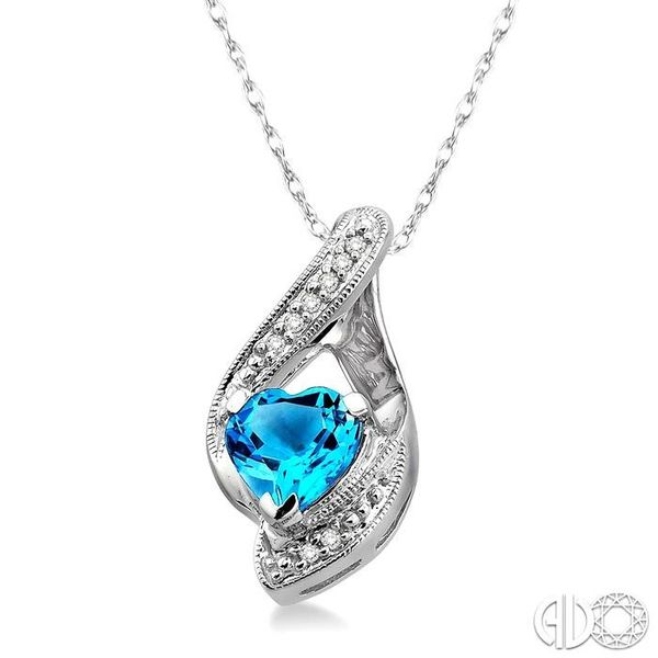 7x7mm Heart Shape Blue Topaz and 1/20 Ctw Single Cut Diamond Pendant in 10K White Gold with Chain Image 2 Coughlin Jewelers St. Clair, MI