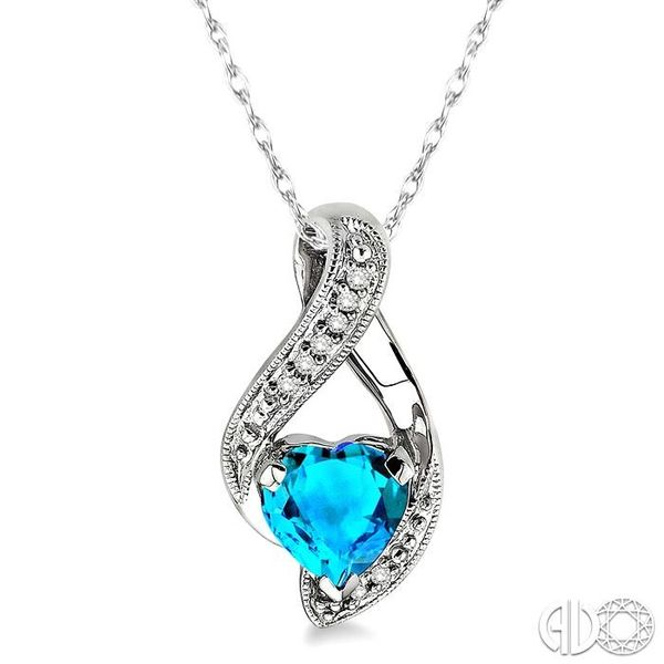 7x7mm Heart Shape Blue Topaz and 1/20 Ctw Single Cut Diamond Pendant in 10K White Gold with Chain Coughlin Jewelers St. Clair, MI