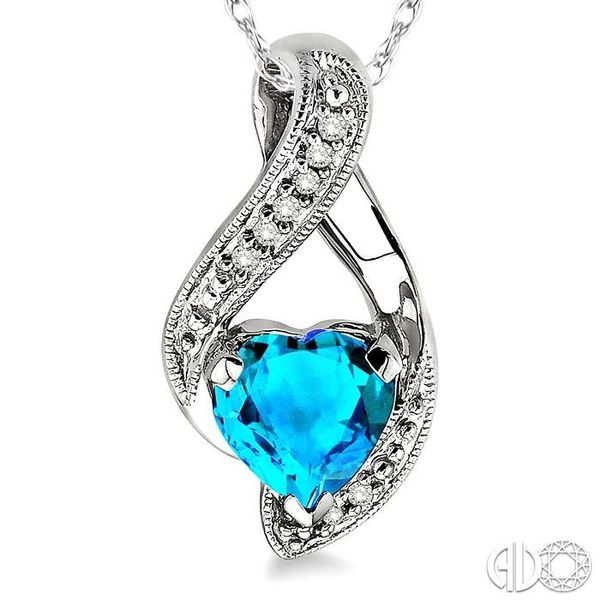 7x7mm Heart Shape Blue Topaz and 1/20 Ctw Single Cut Diamond Pendant in 10K White Gold with Chain Image 3 Coughlin Jewelers St. Clair, MI