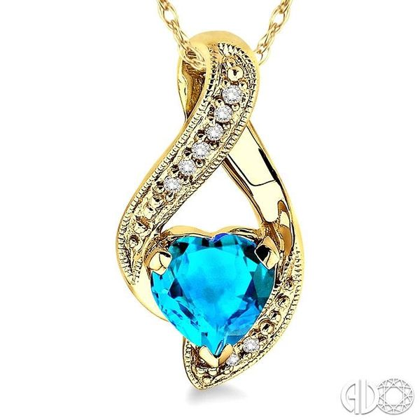 7mm Heart Shape Blue Topaz and 1/20 Ctw Single Cut Diamond Pendant in 10K Yellow Gold with Chain Image 3 Coughlin Jewelers St. Clair, MI