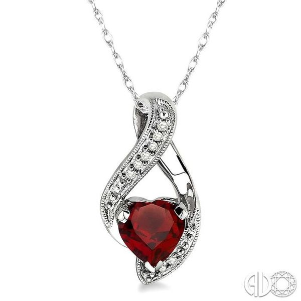 7x7mm Heart Shape Garnet and 1/20 Ctw Single Cut Diamond Pendant in 10K White Gold with Chain Coughlin Jewelers St. Clair, MI