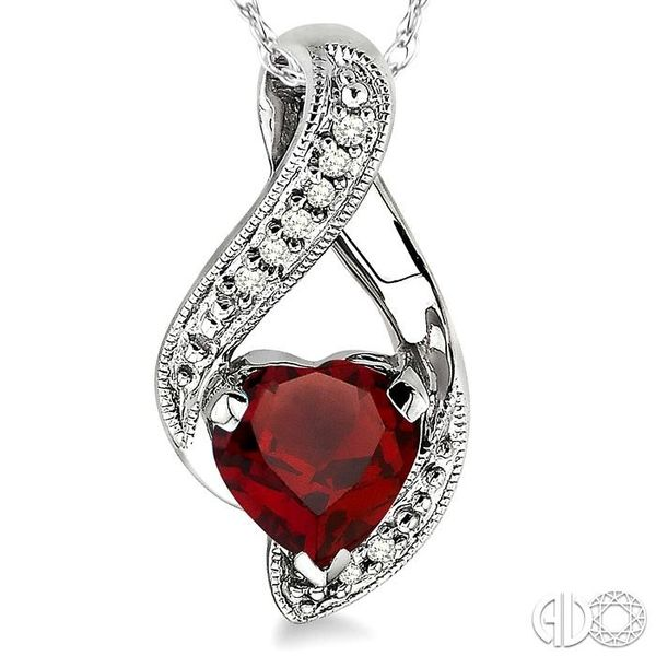 7x7mm Heart Shape Garnet and 1/20 Ctw Single Cut Diamond Pendant in 10K White Gold with Chain Image 3 Coughlin Jewelers St. Clair, MI