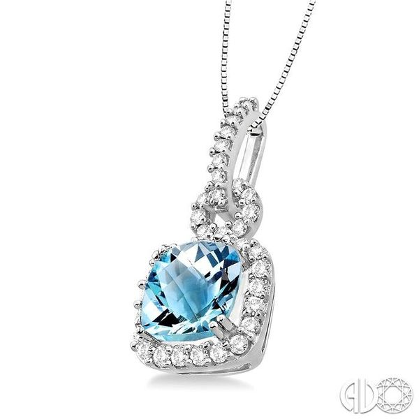 7mm Cushion Cut Aquamarine and 3/8 Ctw Round Cut Diamond Pendant in 14K White Gold with Chain Image 2 Coughlin Jewelers St. Clair, MI