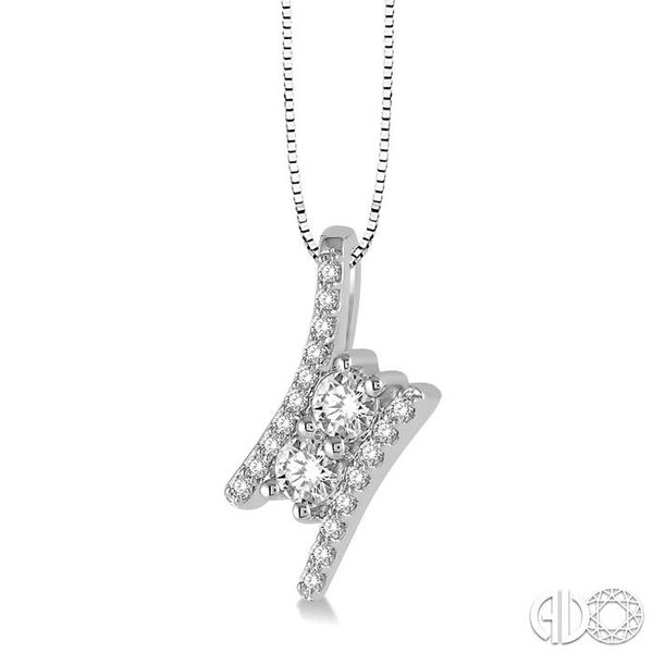 1/4 Ctw Twin Center Parallel Bar Round Cut Diamond 2Stone Pendant With Link Chain in 14K White Gold Image 2 Coughlin Jewelers St. Clair, MI