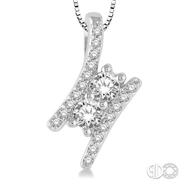 1/4 Ctw Twin Center Parallel Bar Round Cut Diamond 2Stone Pendant With Link Chain in 14K White Gold Image 3 Coughlin Jewelers St. Clair, MI
