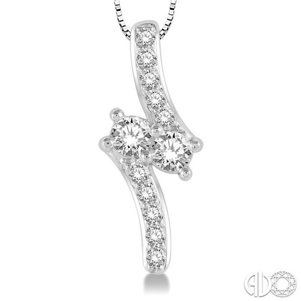 1 Ctw Asymmetrical 2Stone Round Cut Diamond Pendant With Box Link Chain in 14K White Gold Image 3 Coughlin Jewelers St. Clair, MI