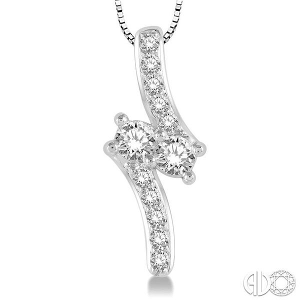 3/8 Ctw Asymmetrical 2Stone Round Cut Diamond Pendant With Box Link Chain in 14K White Gold Image 3 Coughlin Jewelers St. Clair, MI