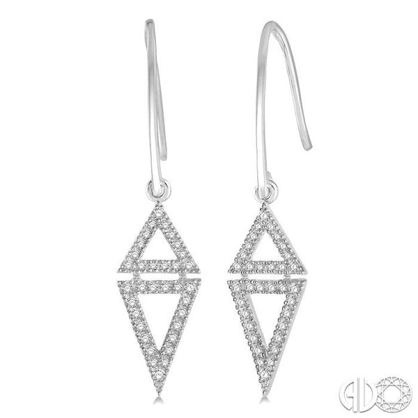1/4 Ctw Reversed Double Triangle Round Cut Diamond Earrings in 14K White Gold Coughlin Jewelers St. Clair, MI