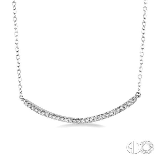 1/6 Ctw Round Cut Diamond Encrusted Arc Pendant With Link Chain in 10K White Gold Image 2 Coughlin Jewelers St. Clair, MI