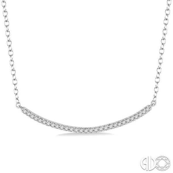 1/6 Ctw Round Cut Diamond Encrusted Arc Pendant With Link Chain in 10K White Gold Coughlin Jewelers St. Clair, MI
