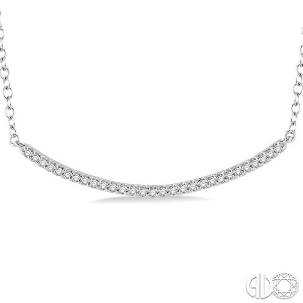 1/6 Ctw Round Cut Diamond Encrusted Arc Pendant With Link Chain in 10K White Gold Image 3 Coughlin Jewelers St. Clair, MI