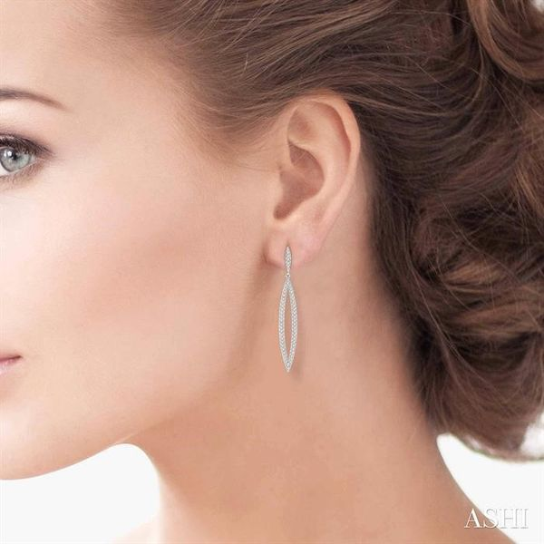 1/2 ctw Round Cut Diamond Long Earrings in 14K White Gold Image 4 Coughlin Jewelers St. Clair, MI