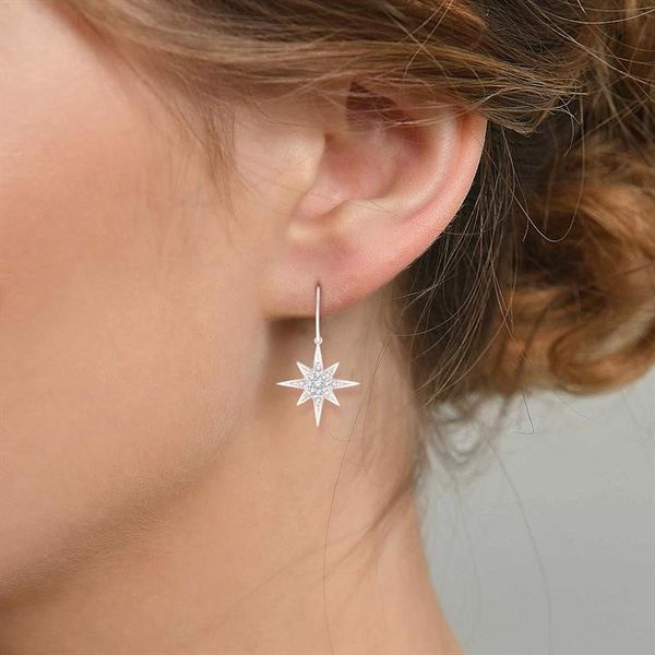 1/6 Ctw Star Charm Round Cut Diamond Earrings in 10K White Gold Image 4 Coughlin Jewelers St. Clair, MI