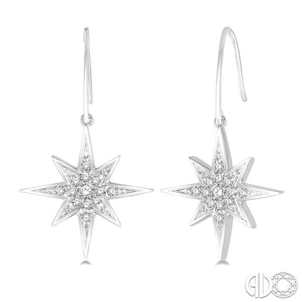 1/6 Ctw Star Charm Round Cut Diamond Earrings in 10K White Gold Coughlin Jewelers St. Clair, MI