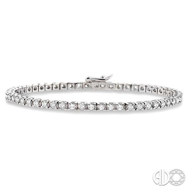 3 Ctw Square Shape Round Cut Diamond Tennis Bracelet in 14K White gold Coughlin Jewelers St. Clair, MI