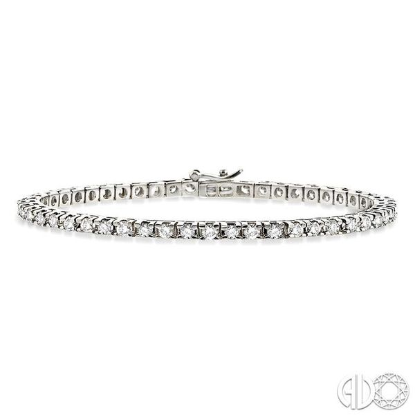 4 Ctw Square Shape Round Cut Diamond Tennis Bracelet in 14K White gold Coughlin Jewelers St. Clair, MI
