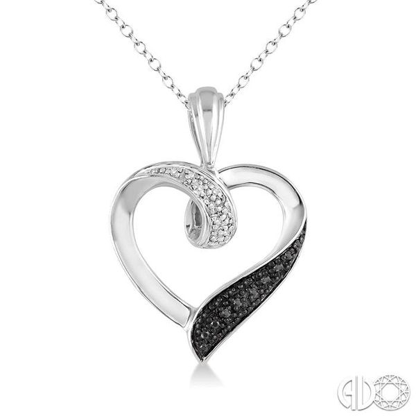 1/8 Ctw White and Black Diamond Heart Shape Pendant in Sterling Silver with Chain Coughlin Jewelers St. Clair, MI