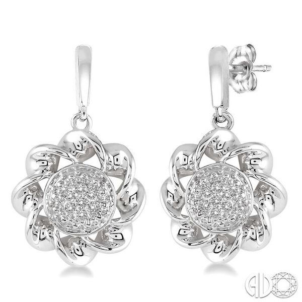 1/20 Ctw Round Cut Diamond Twisted Earrings in Sterling Silver Coughlin Jewelers St. Clair, MI