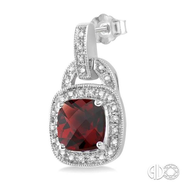 8x8MM Cushion Cut Garnet and 1/10 Ctw Single Cut Diamond Earrings in Sterling Silver Image 3 Coughlin Jewelers St. Clair, MI