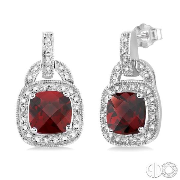 8x8MM Cushion Cut Garnet and 1/10 Ctw Single Cut Diamond Earrings in Sterling Silver Coughlin Jewelers St. Clair, MI