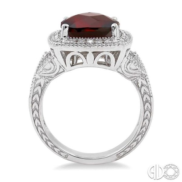 10x10mm Cushion Cut Garnet and 1/20 Ctw Single Cut Diamond Ring in Sterling Silver Image 3 Coughlin Jewelers St. Clair, MI