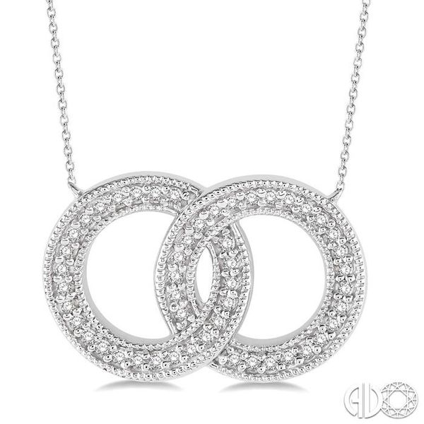 1/5 Ctw Interlocked Double Circle Pendant With Link Chain in 10K White Gold Coughlin Jewelers St. Clair, MI