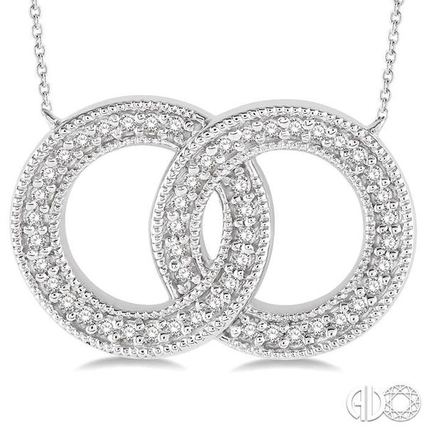1/5 Ctw Interlocked Double Circle Pendant With Link Chain in 10K White Gold Image 3 Coughlin Jewelers St. Clair, MI
