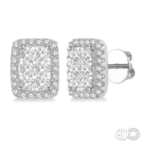 1 Ctw Emerald Shape Lovebright Round Cut Diamond Stud Earrings in 14K White Gold Coughlin Jewelers St. Clair, MI