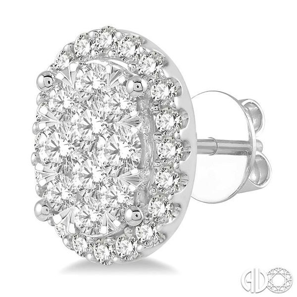 1 Ctw Oval Shape Lovebright Round Cut Diamond Stud Earrings in 14K White Gold Image 3 Coughlin Jewelers St. Clair, MI